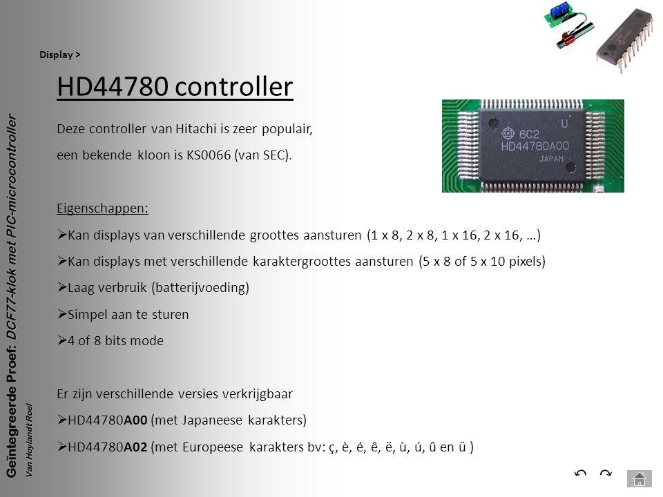 HD44780 controller ⃔ ⃕ Deze controller van Hitachi is zeer populair,