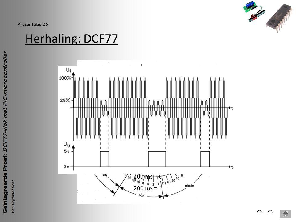 Presentatie 2 > Herhaling: DCF77 100 ms = 0 200 ms = 1 ⃔ ⃕