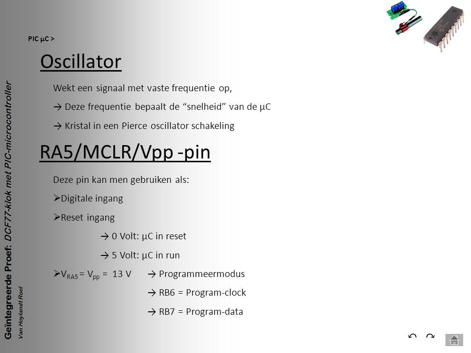 Oscillator RA5/MCLR/Vpp -pin ⃔ ⃕