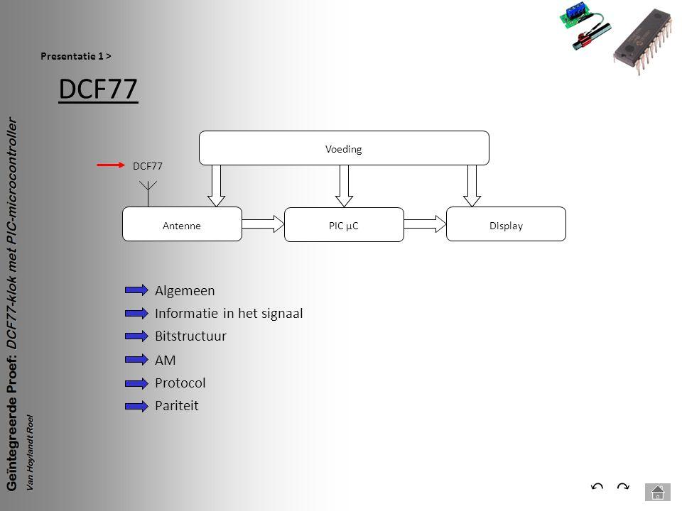DCF77 ⃔ ⃕ Algemeen Informatie in het signaal Bitstructuur AM Protocol