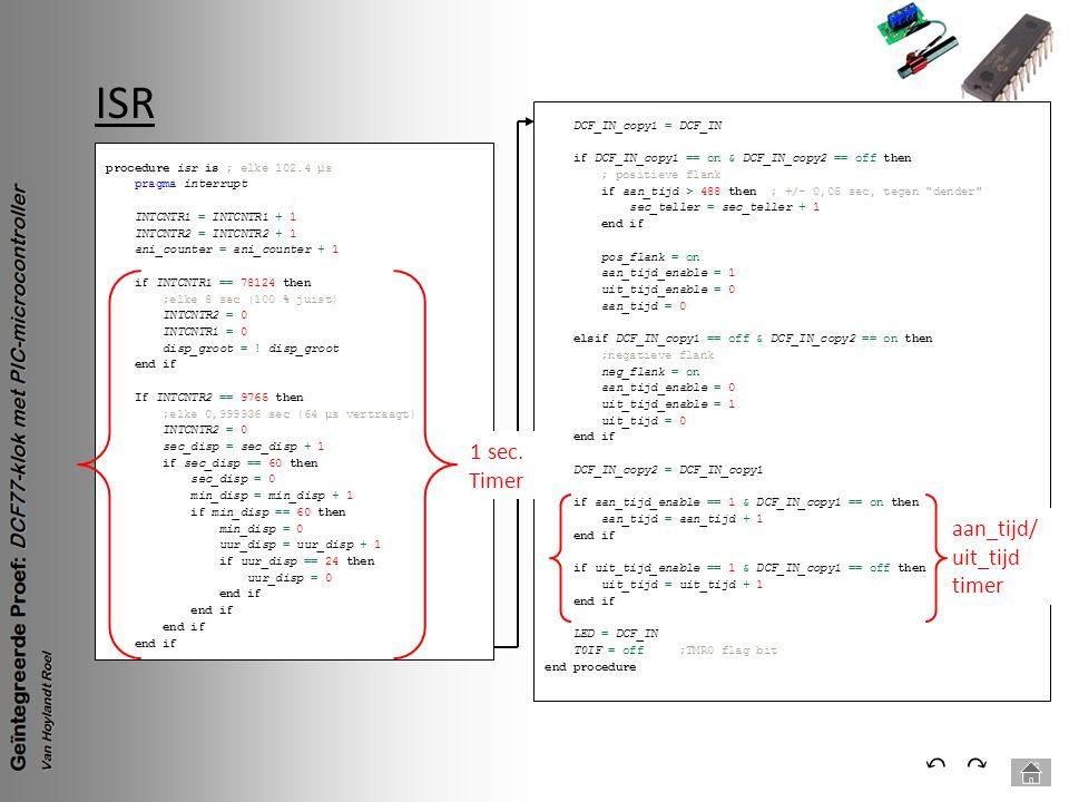 ISR ⃔ ⃕ 1 sec. Timer aan_tijd/ uit_tijd timer DCF_IN_copy1 = DCF_IN