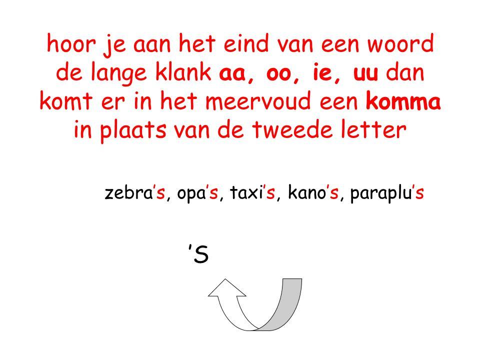 hoor je aan het eind van een woord de lange klank aa, oo, ie, uu dan komt er in het meervoud een komma in plaats van de tweede letter zebra's, opa's, taxi's, kano's, paraplu's