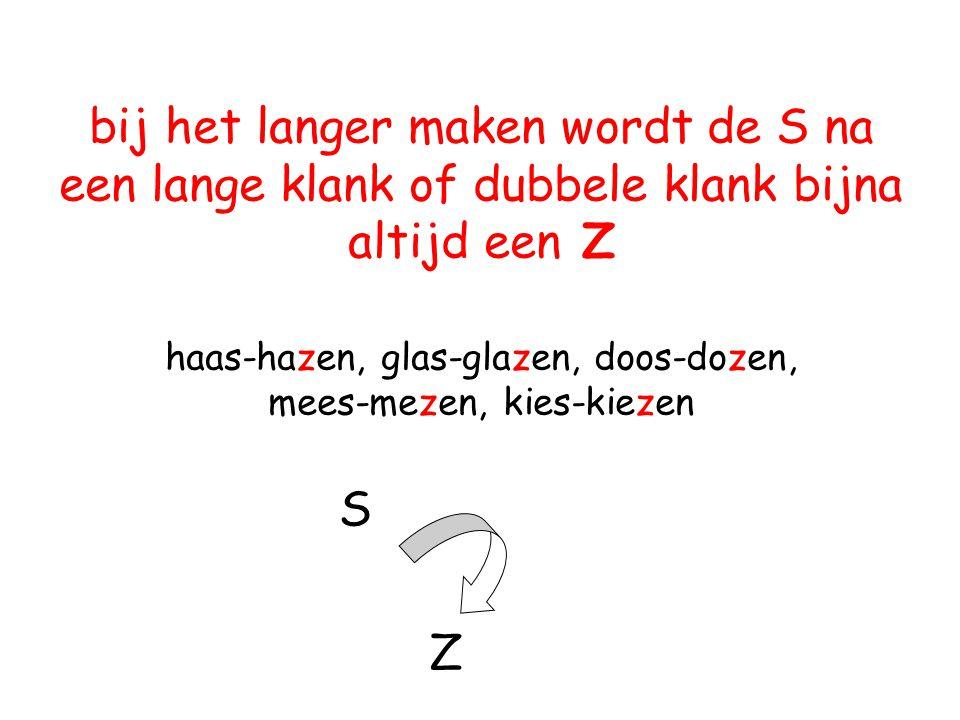 bij het langer maken wordt de S na een lange klank of dubbele klank bijna altijd een Z haas-hazen, glas-glazen, doos-dozen, mees-mezen, kies-kiezen