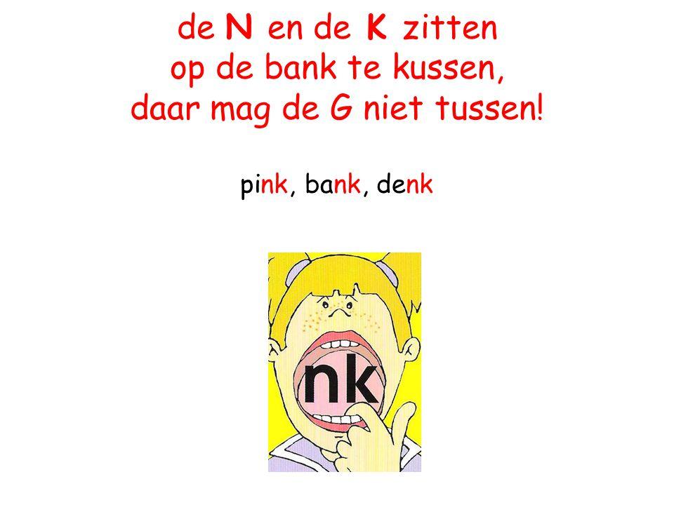 de N en de K zitten op de bank te kussen, daar mag de G niet tussen