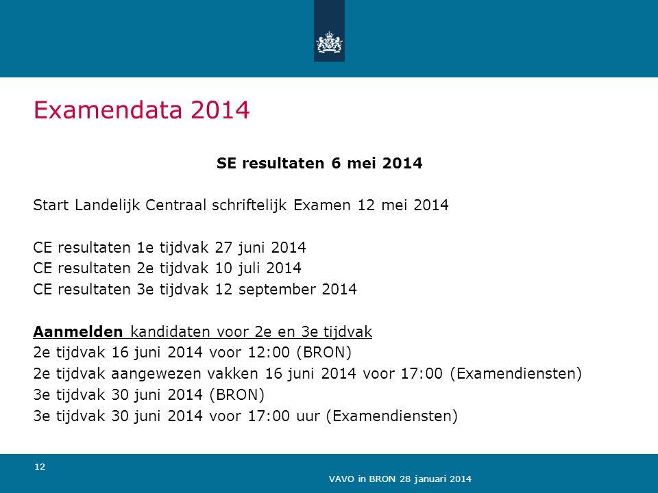 Examendata 2014 SE resultaten 6 mei 2014