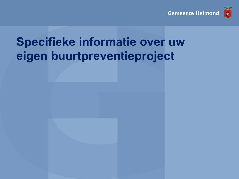 Specifieke informatie over uw eigen buurtpreventieproject