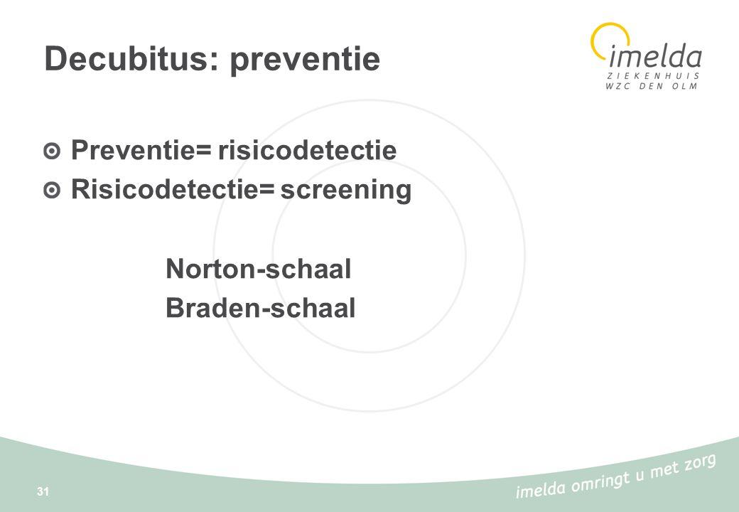 Decubitus: preventie Preventie= risicodetectie