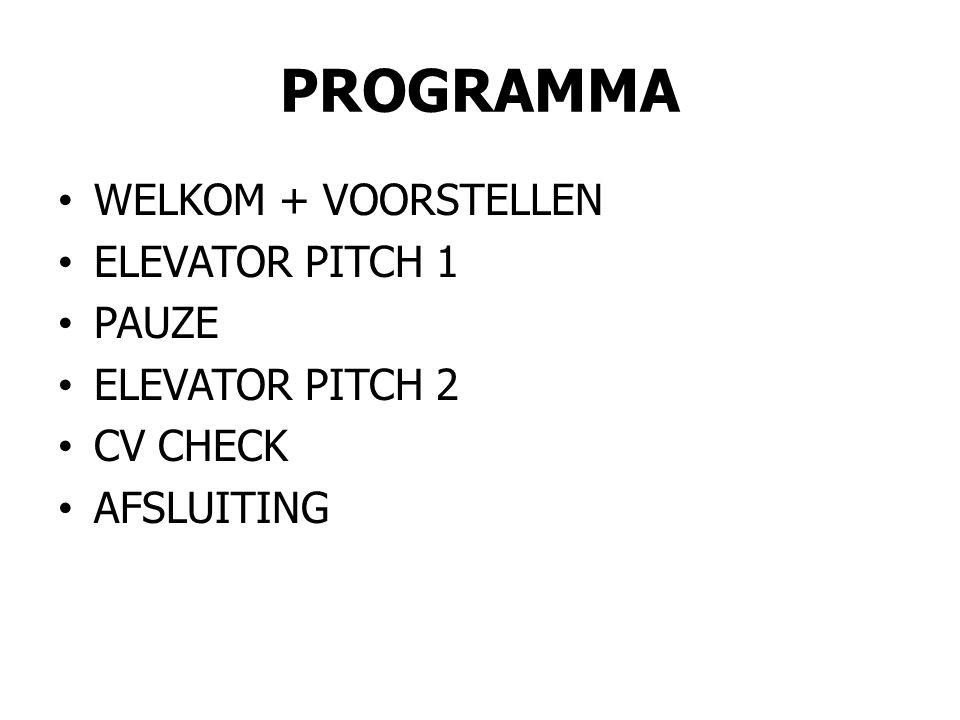 PROGRAMMA WELKOM + VOORSTELLEN ELEVATOR PITCH 1 PAUZE ELEVATOR PITCH 2