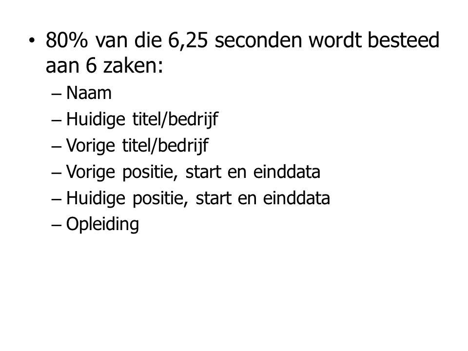 80% van die 6,25 seconden wordt besteed aan 6 zaken: