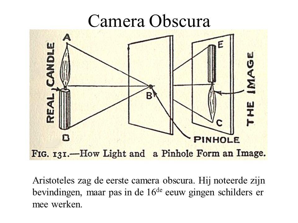 Camera Obscura Aristoteles zag de eerste camera obscura. Hij noteerde zijn. bevindingen, maar pas in de 16de eeuw gingen schilders er.