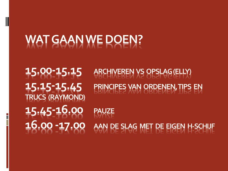 Wat gaan we doen. 15. 00-15. 15. Archiveren vs opslag (Elly) 15. 15-15