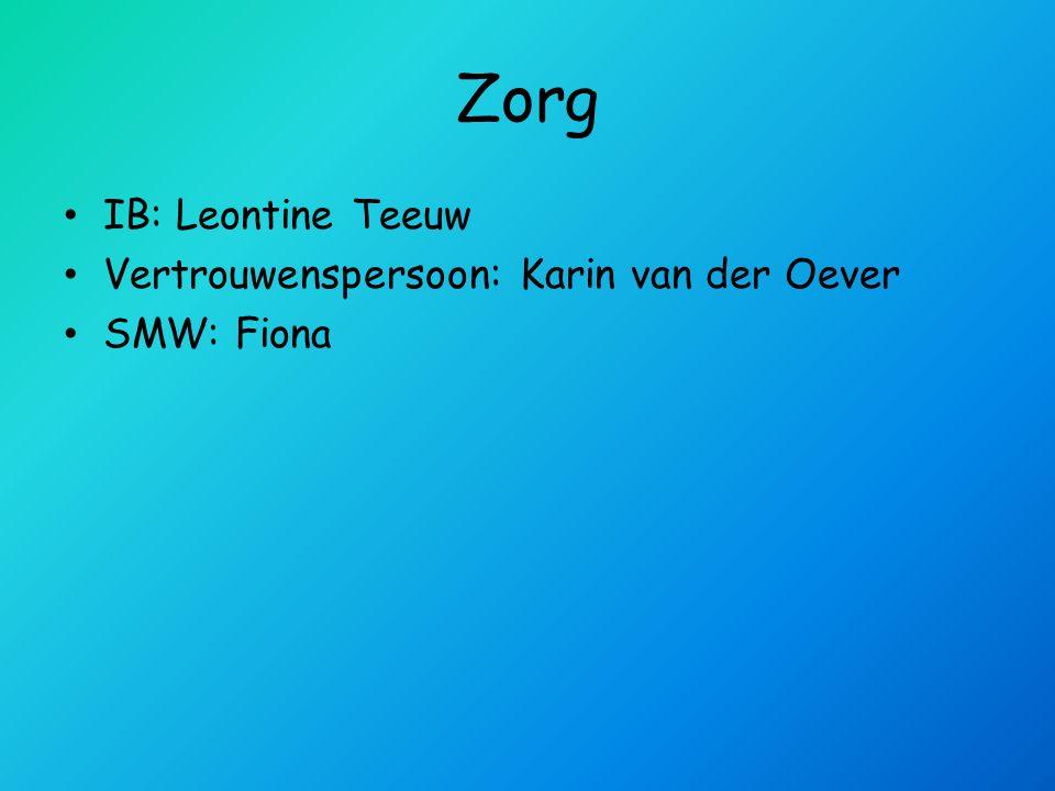 Zorg IB: Leontine Teeuw Vertrouwenspersoon: Karin van der Oever