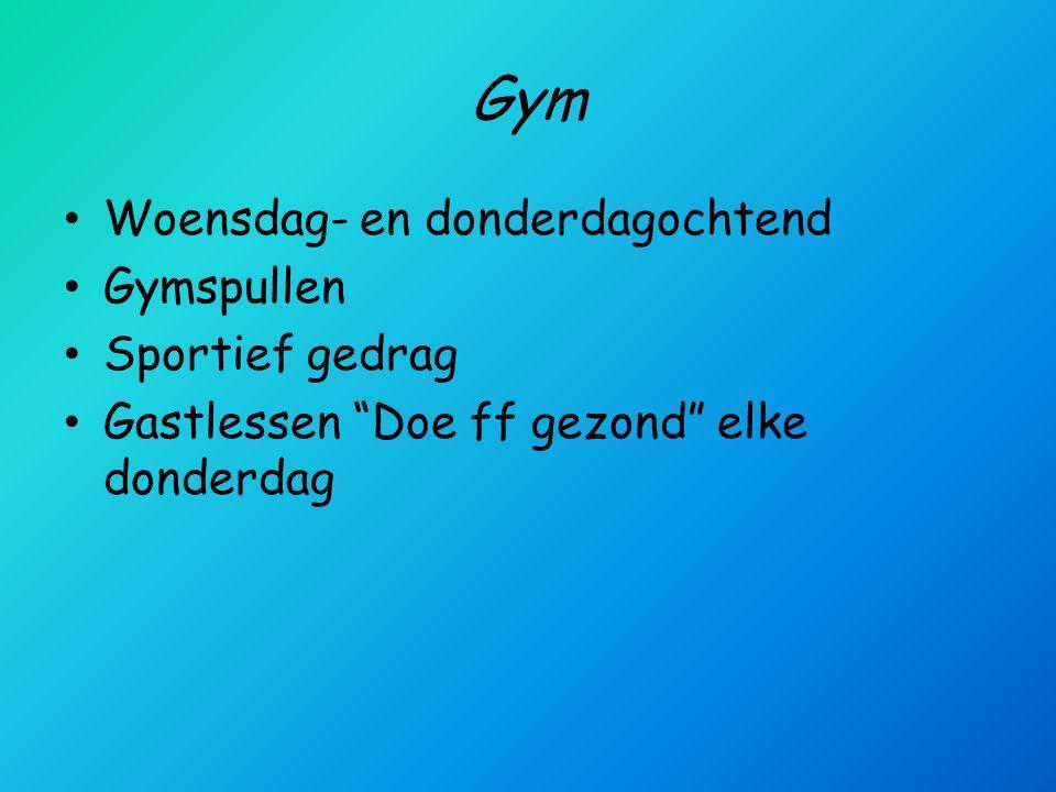 Gym Woensdag- en donderdagochtend Gymspullen Sportief gedrag