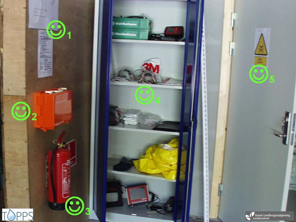 Storage 1: Emergency plan – statement : First aid. 3: Fire extinguisher.