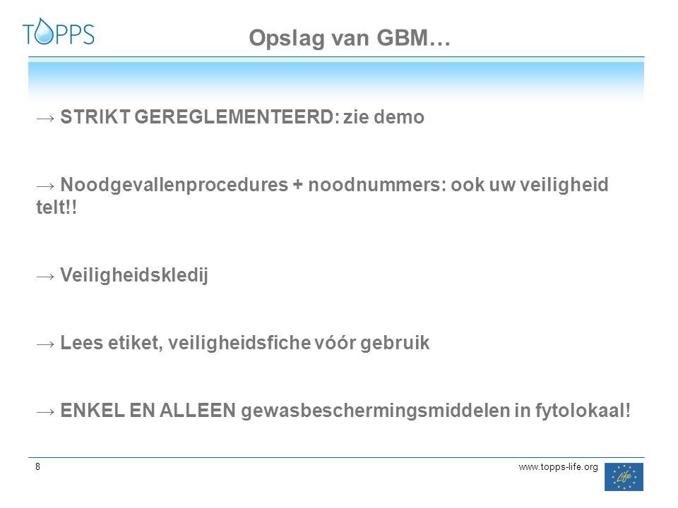 Opslag van GBM… STRIKT GEREGLEMENTEERD: zie demo