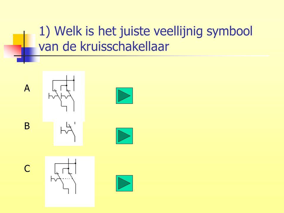 1) Welk is het juiste veellijnig symbool van de kruisschakellaar