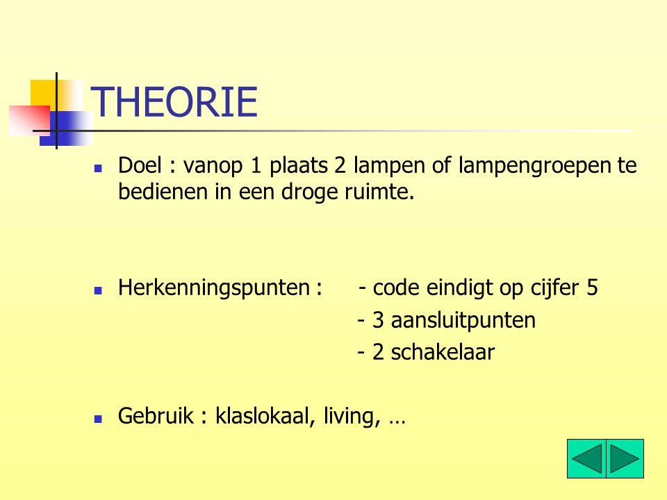 THEORIE Doel : vanop 1 plaats 2 lampen of lampengroepen te bedienen in een droge ruimte. Herkenningspunten : - code eindigt op cijfer 5.