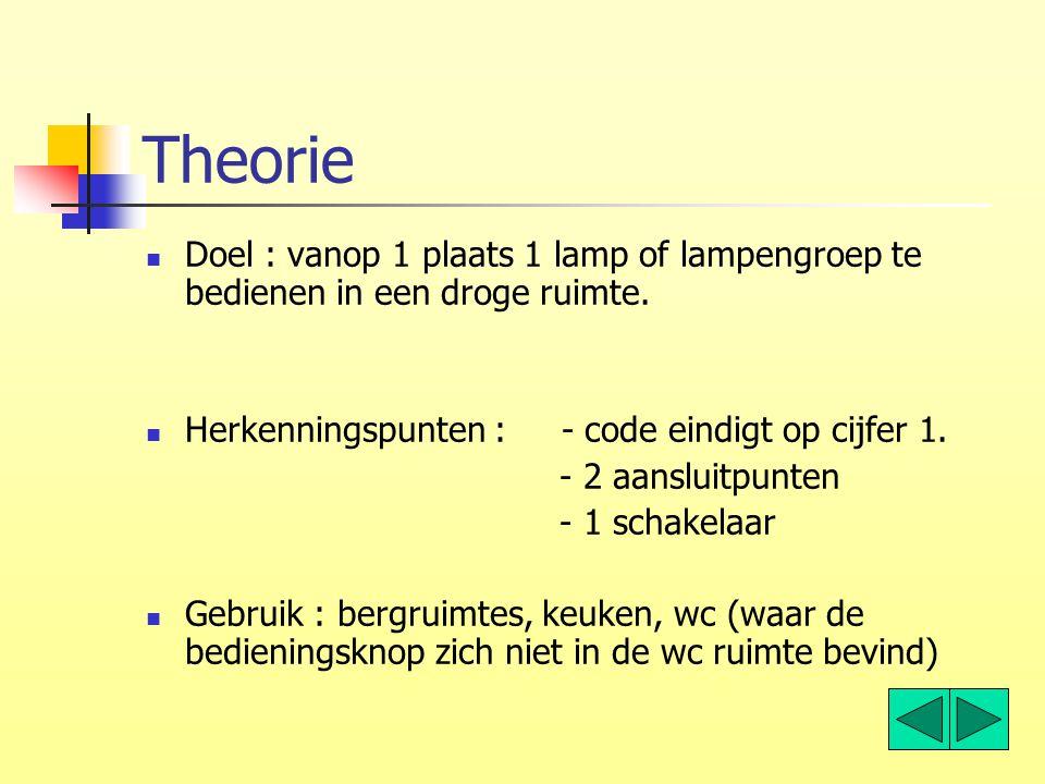 Theorie Doel : vanop 1 plaats 1 lamp of lampengroep te bedienen in een droge ruimte. Herkenningspunten : - code eindigt op cijfer 1.