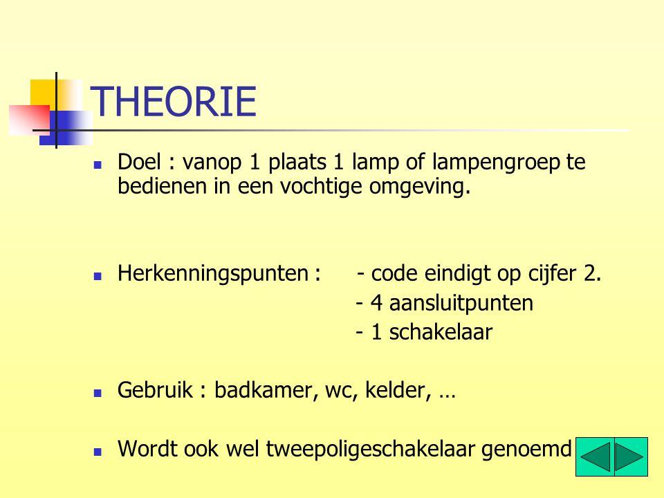 THEORIE Doel : vanop 1 plaats 1 lamp of lampengroep te bedienen in een vochtige omgeving. Herkenningspunten : - code eindigt op cijfer 2.