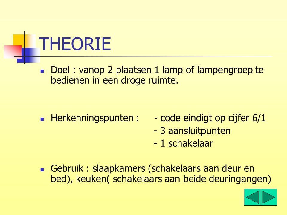 THEORIE Doel : vanop 2 plaatsen 1 lamp of lampengroep te bedienen in een droge ruimte. Herkenningspunten : - code eindigt op cijfer 6/1.