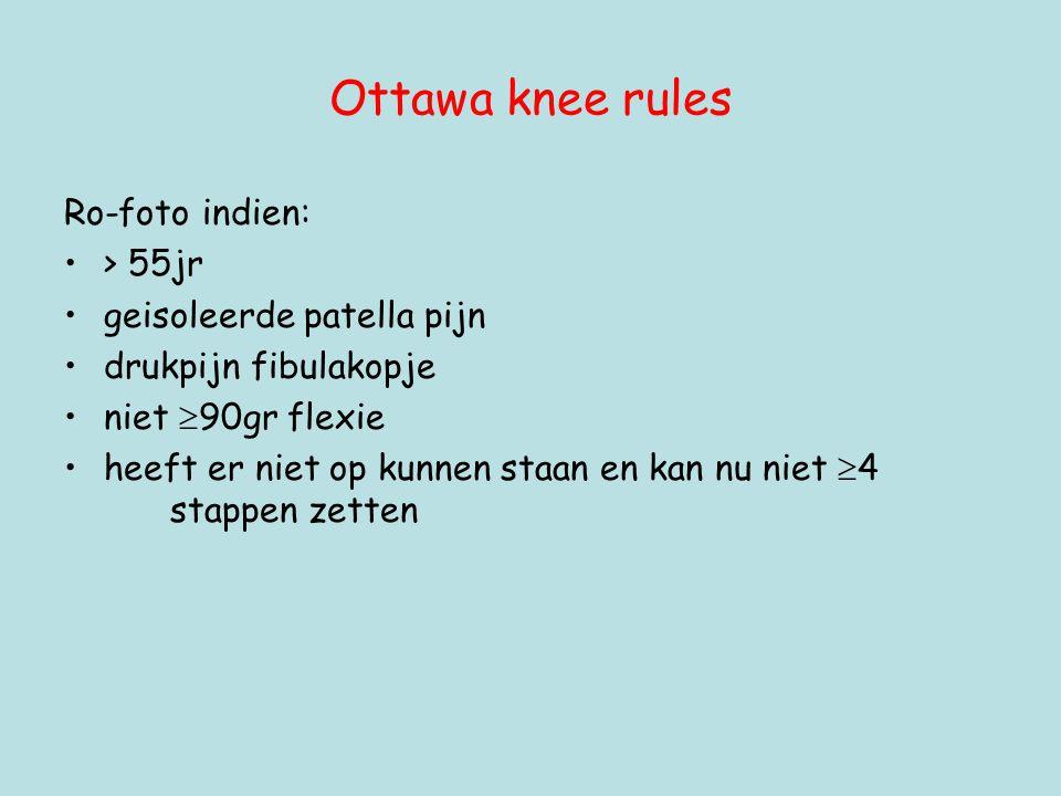 Ottawa knee rules Ro-foto indien: > 55jr geisoleerde patella pijn