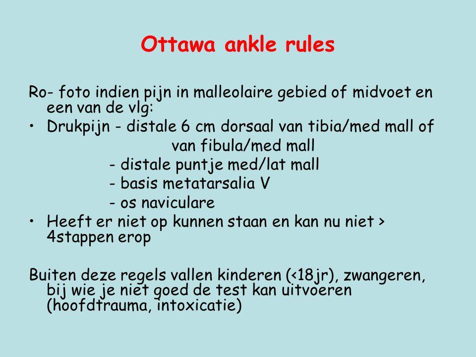 Ottawa ankle rules Ro- foto indien pijn in malleolaire gebied of midvoet en een van de vlg: Drukpijn - distale 6 cm dorsaal van tibia/med mall of.