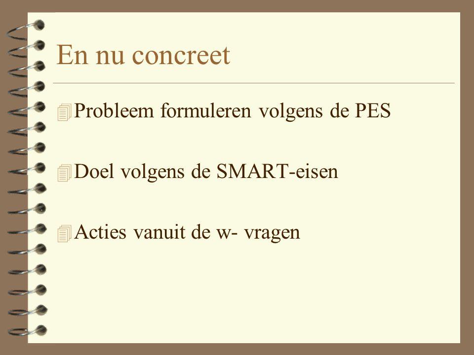 En nu concreet Probleem formuleren volgens de PES