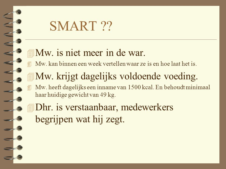 SMART Mw. is niet meer in de war.