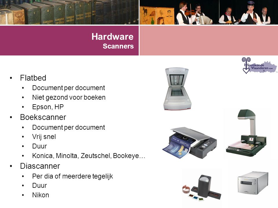 Hardware Scanners Flatbed Boekscanner Diascanner Document per document
