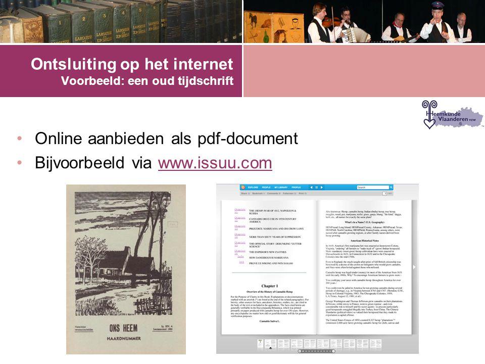 Ontsluiting op het internet Voorbeeld: een oud tijdschrift