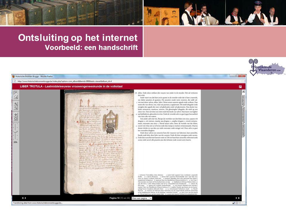 Ontsluiting op het internet Voorbeeld: een handschrift