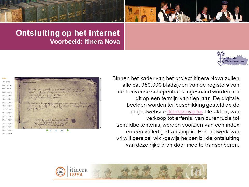 Ontsluiting op het internet Voorbeeld: Itinera Nova