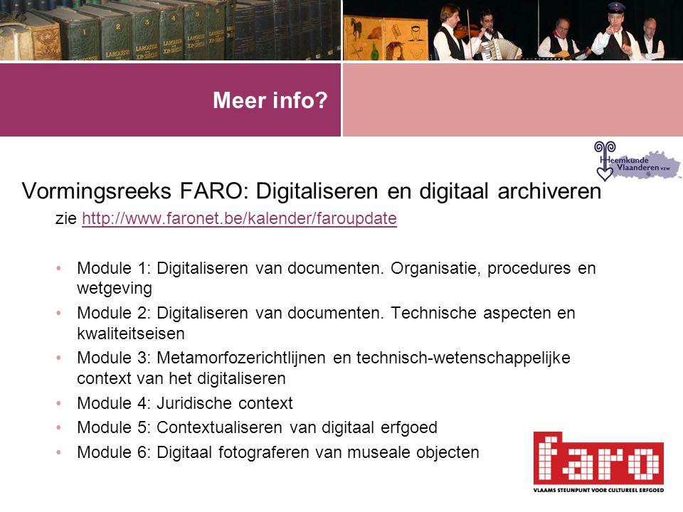Vormingsreeks FARO: Digitaliseren en digitaal archiveren