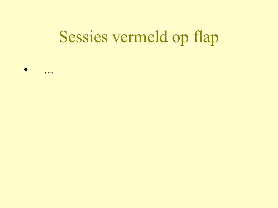 Sessies vermeld op flap
