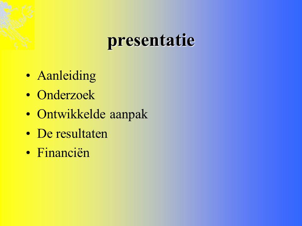 presentatie Aanleiding Onderzoek Ontwikkelde aanpak De resultaten