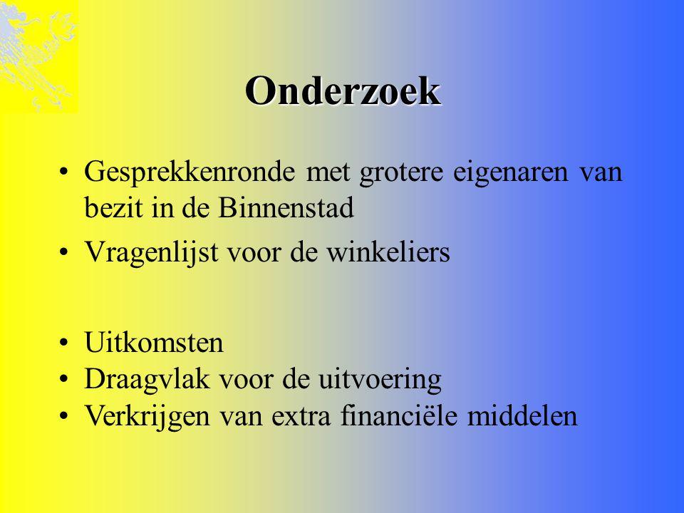 Onderzoek Gesprekkenronde met grotere eigenaren van bezit in de Binnenstad. Vragenlijst voor de winkeliers.