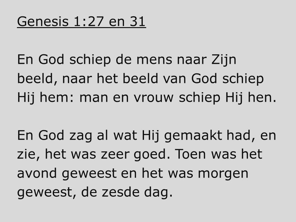 Genesis 1:27 en 31 En God schiep de mens naar Zijn. beeld, naar het beeld van God schiep. Hij hem: man en vrouw schiep Hij hen.