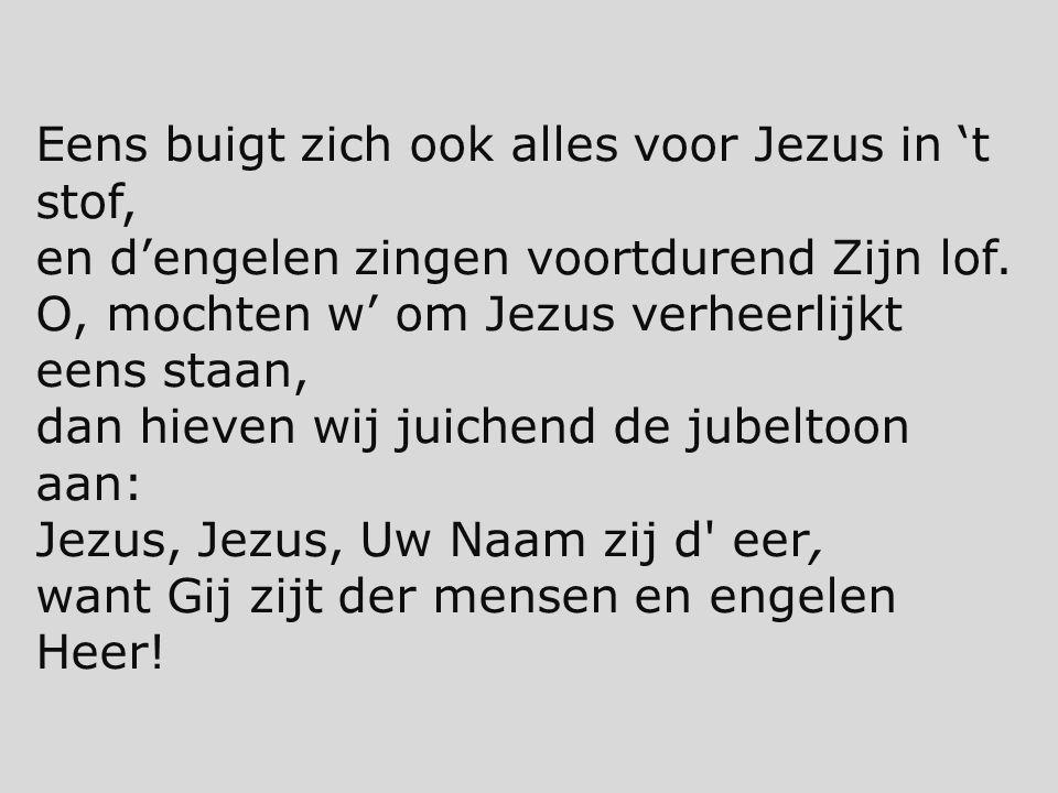 Eens buigt zich ook alles voor Jezus in 't stof,