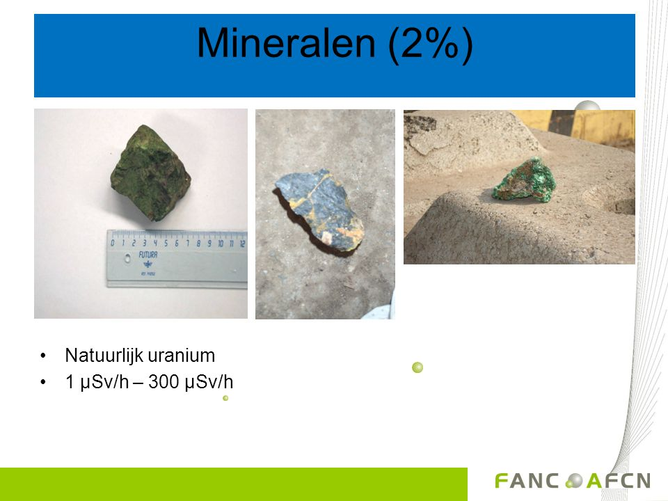 Mineralen (2%) Et encore.... Natuurlijk uranium 1 µSv/h – 300 µSv/h