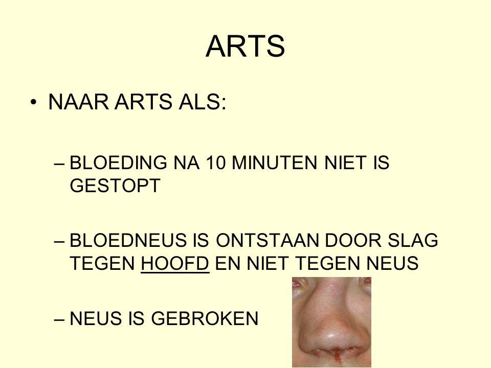ARTS NAAR ARTS ALS: BLOEDING NA 10 MINUTEN NIET IS GESTOPT