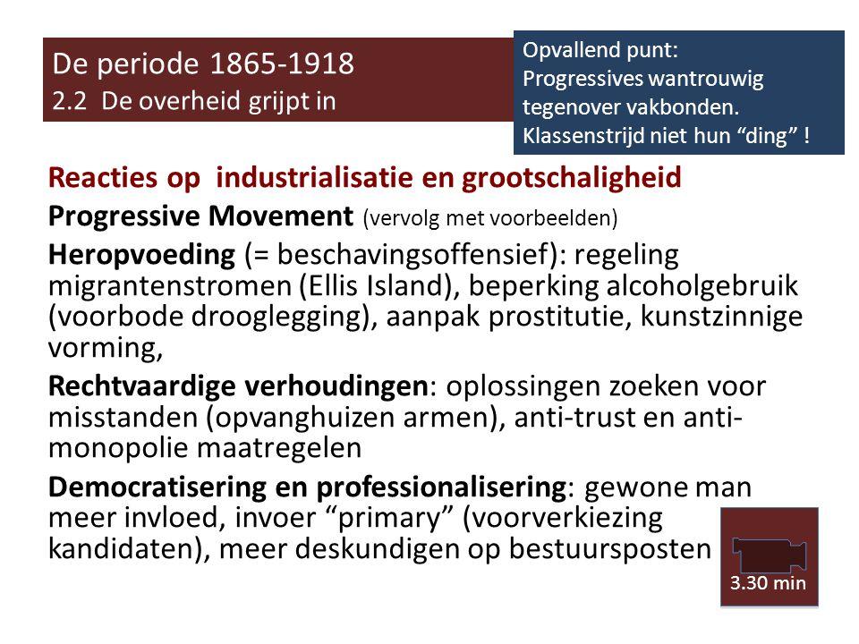 De periode 1865-1918 2.2 De overheid grijpt in