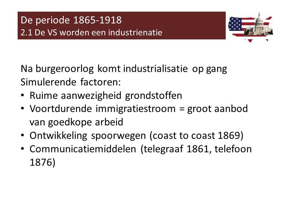 Na burgeroorlog komt industrialisatie op gang Simulerende factoren: