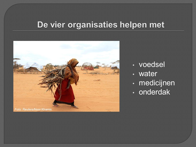 De vier organisaties helpen met