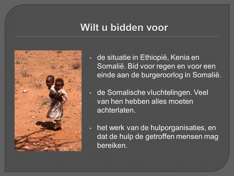 Wilt u bidden voor de situatie in Ethiopië, Kenia en Somalië. Bid voor regen en voor een einde aan de burgeroorlog in Somalië.