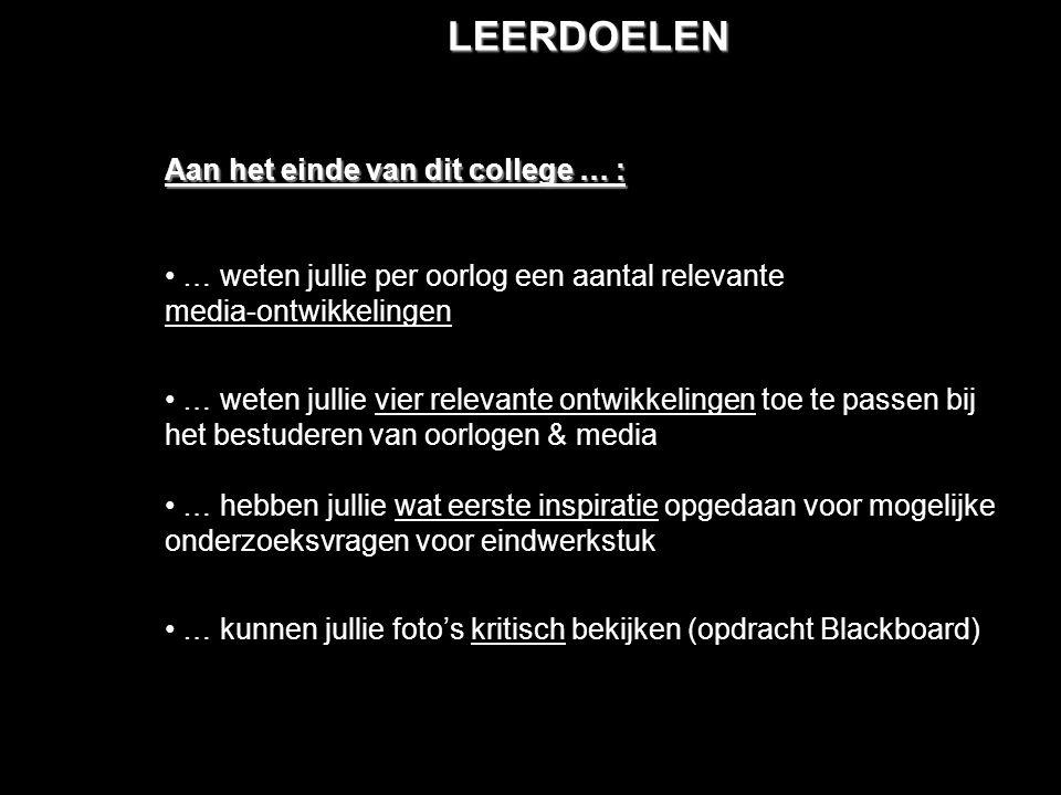 LEERDOELEN Aan het einde van dit college … :