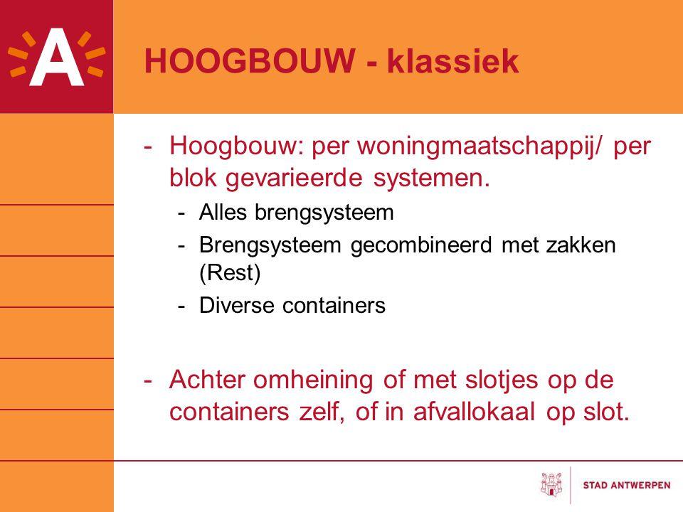 HOOGBOUW - klassiek Hoogbouw: per woningmaatschappij/ per blok gevarieerde systemen. Alles brengsysteem.