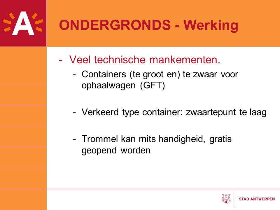 ONDERGRONDS - Werking Veel technische mankementen.