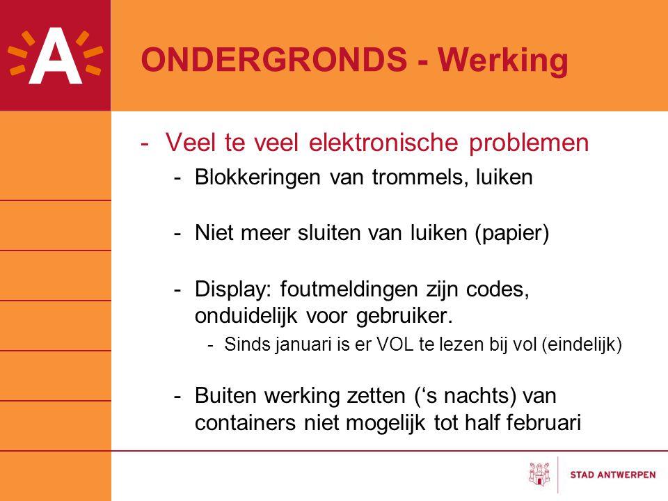 ONDERGRONDS - Werking Veel te veel elektronische problemen