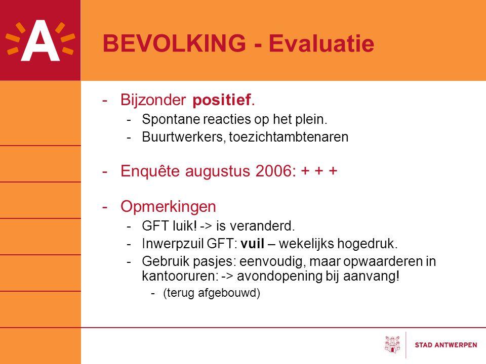 BEVOLKING - Evaluatie Bijzonder positief. Enquête augustus 2006: + + +
