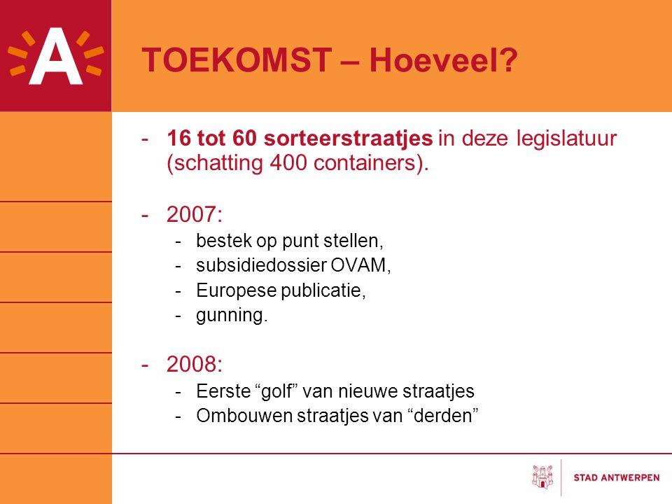 TOEKOMST – Hoeveel 16 tot 60 sorteerstraatjes in deze legislatuur (schatting 400 containers). 2007:
